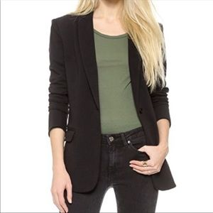 Norma Kamali black lined boyfriend jacket 10